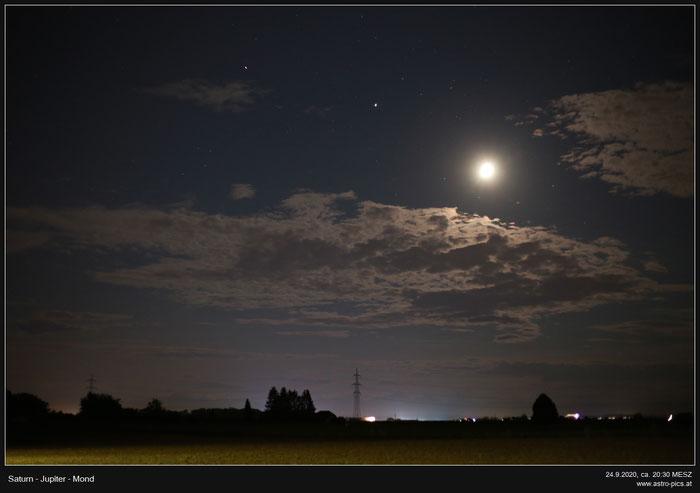 Saturn, Jupiter & Mond am 24.9.2020