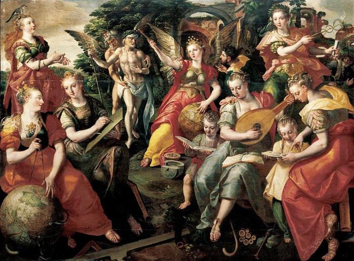 Marten de Vos, Allégorie des sept arts libéraux, 1590, collection privée, (source http://cornucopia16.com/blog/2014/01/19/compte-rendu-de-la-troisieme-seance-de-chorea/)