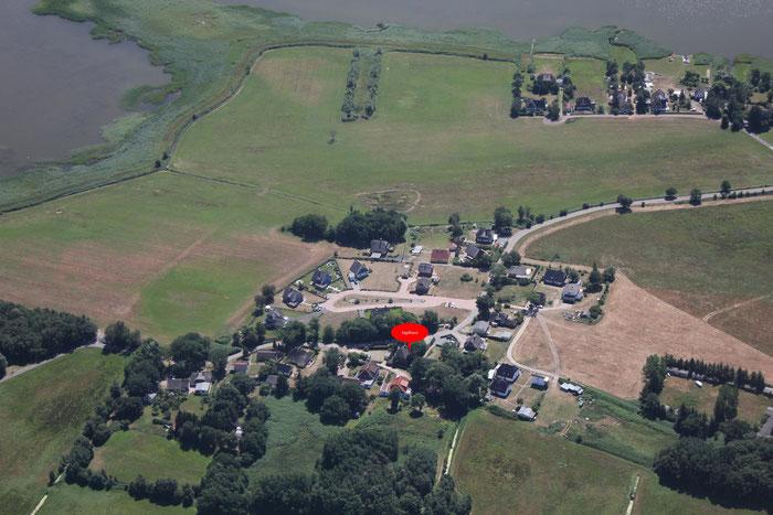 Lage des Jagdhauses im Luftbild (mit Klick vergrößerbar)
