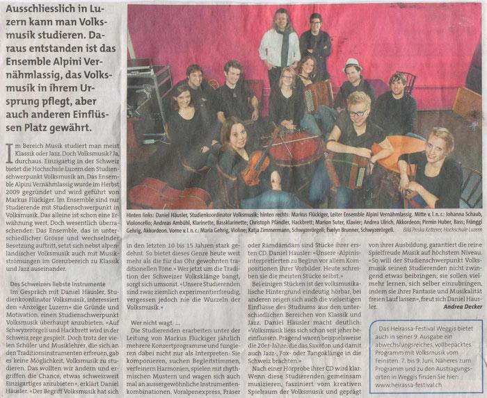 Anzeiger Luzern vom März 2013