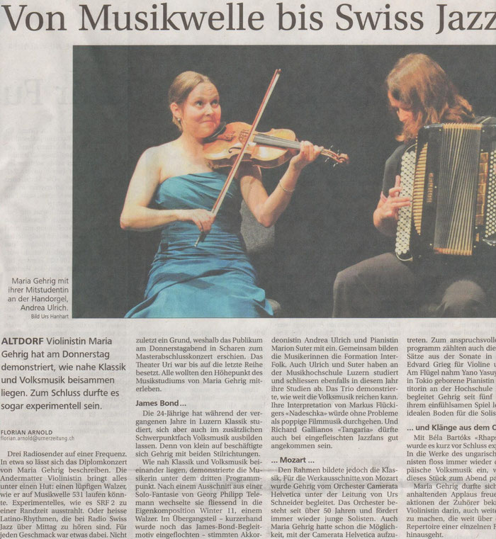 Neue Urner Zeitung vom 15. Juni 2013