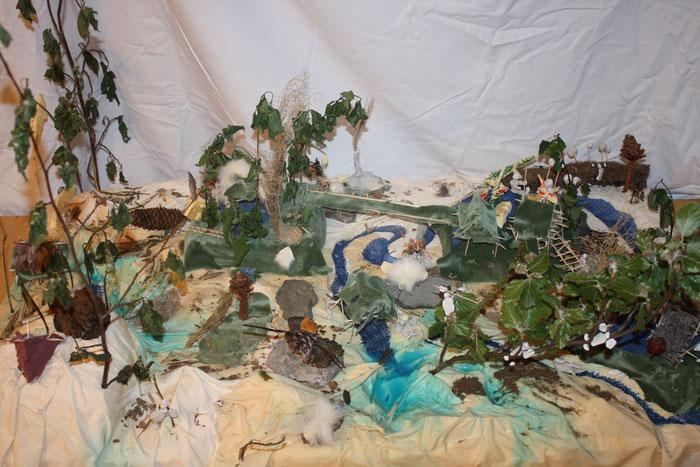 Das Leben in der Steinzeit - Die Kinder sind tief in die Steinzeit eingetaucht und haben sich mit Häuserbau, Jagd und Bekleidung beschäftigt.