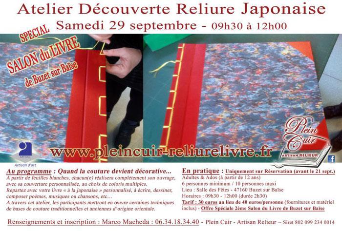 Atelier Découverte RELIURE JAPONAISE buzet sur baise lot et garonne PLEIN CUIR Artisan RELIEUR