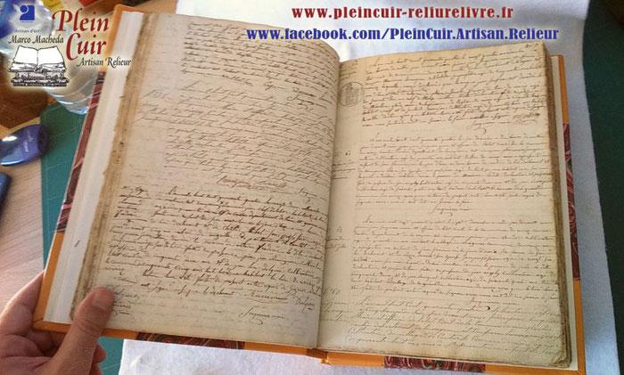 Reliure Registres Collectivités Mairies - état-civil - Délibérations - Arrêtés... Restauration Registres, Rénovation par PLEIN CUIR - Artisan RELIEUR