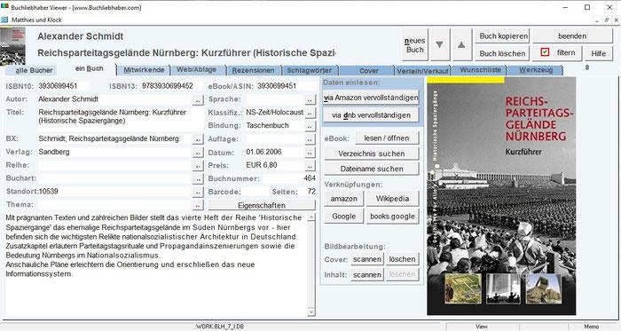 Viewer: Beispiel für zu einem Buch gespeicherten Informationen