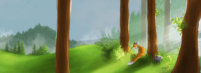 森の中のキツネのイメージ写真forest-2386721_1280