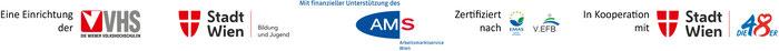Fördergeber Logos: VHS Wien, MA 12, AMS Wien; Zertifiziert nach: EMAS, V.EFB; in Kooperation mit: MA 48