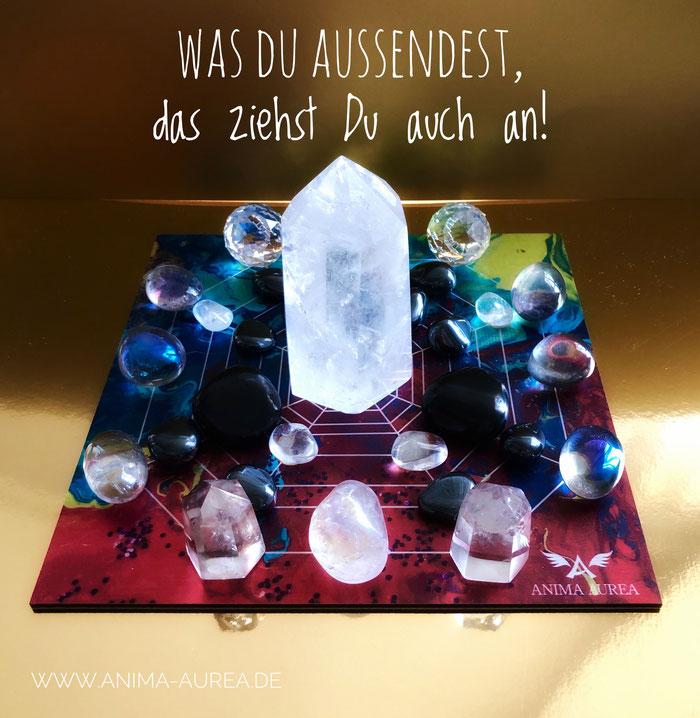 Legeplatte, Crystal Grid, Anima Aurea, Bergkristall, Resonanzprinzip, Angel Aura Kristall