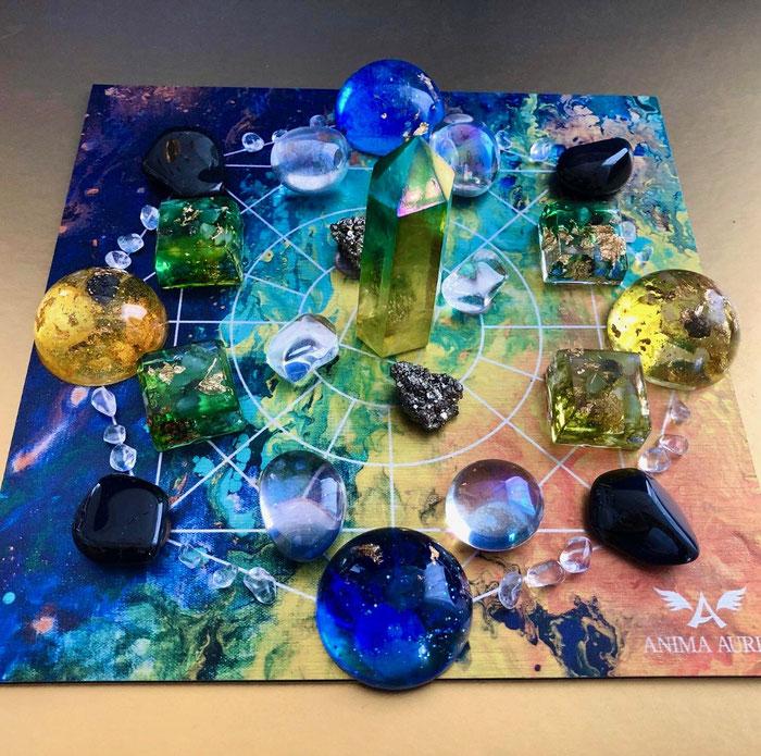 Legeplatte, Crystal Grid, Anima Aurea, Orgonite, Kristalle, Angel Aura Kristall