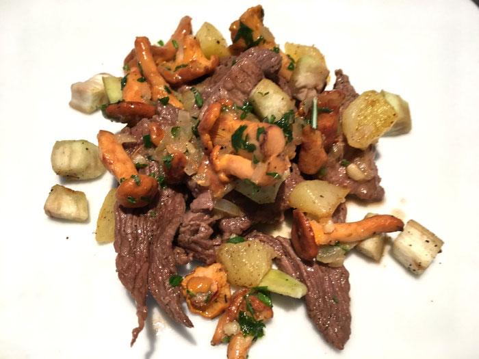 Geschnetzeltes Rindfleisch mit Pfifferlinge