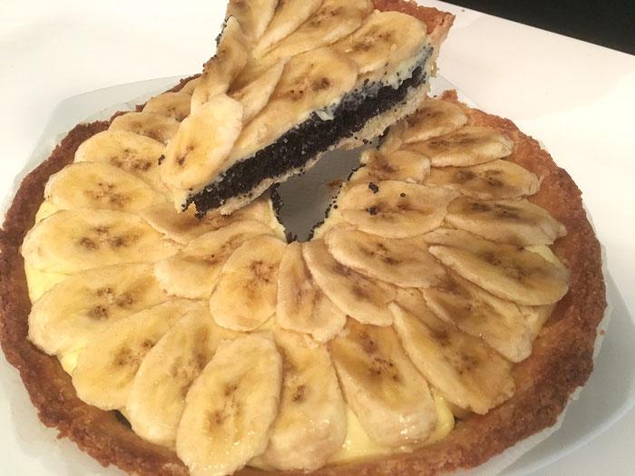Die Bananen-Mohn-Tarte mit Orangencrème