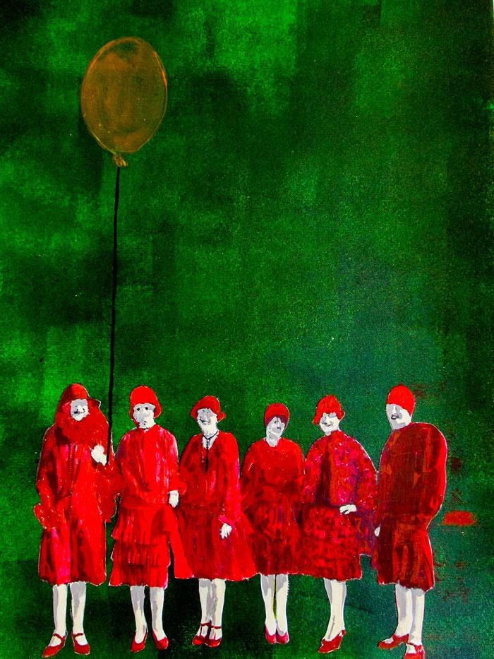 """""""The Orphanage"""", 2018. Acryl, Papier auf Mischtechnik-Papier. 42x29,5 cm."""