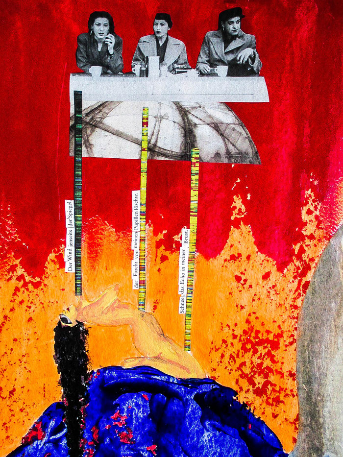 """Verurteilung Kalypsos"", 2019. Acryl, Papier auf Aquarell-Hahnemühle-Papier. 24x32 cm."