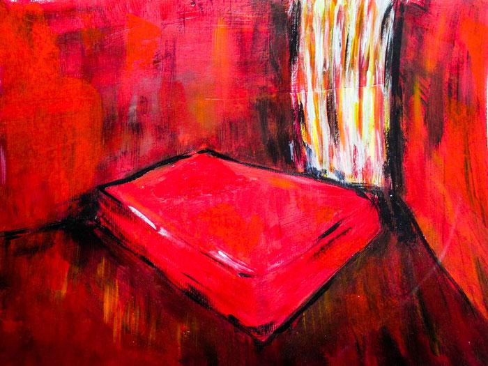 """""""Das Rote Zimmer"""", 2019. Acryl auf Mischtechnik-Papier. 40,5x29,5cm."""