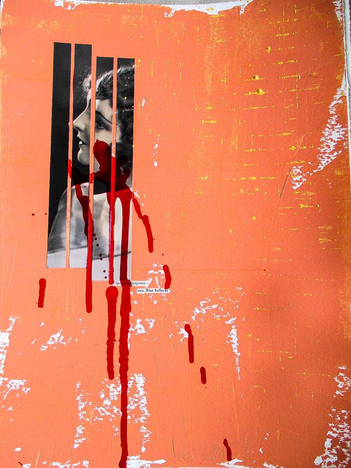"""Operettengespenst. Mit Blut befleckt"", 2019. Acryl, Papier, Theaterblut auf Mischtechnik-Papier. 29,5x42 cm."