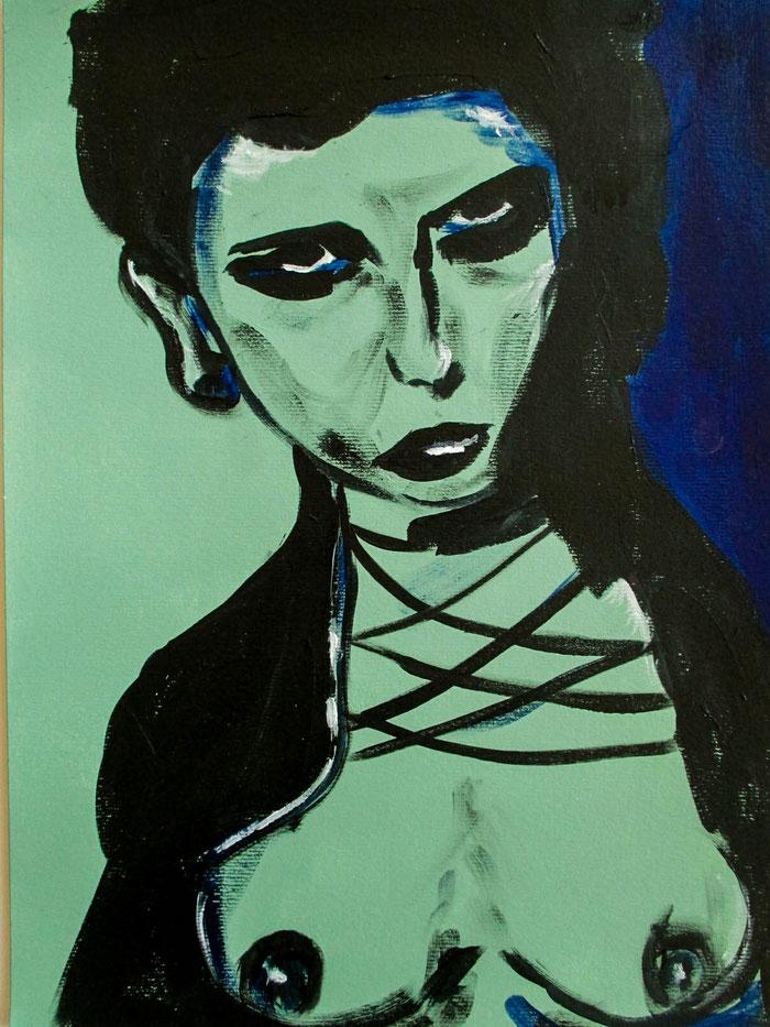 """White like that"", 2018. Acryl auf Mischtechnik-Papier. 29,5x40,5 cm."