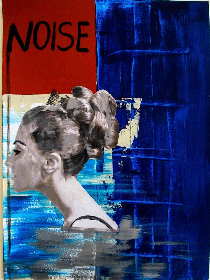 """""""Noise"""", 2018. Acryl, Papier auf Mischtechnik-Papier. 29,5x40 cm."""