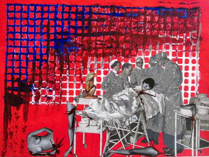 """Dekonstruktion"", 2018. Acryl, Blut, Papier auf Mischtechnik-Papier. 40,5x29,5cm."