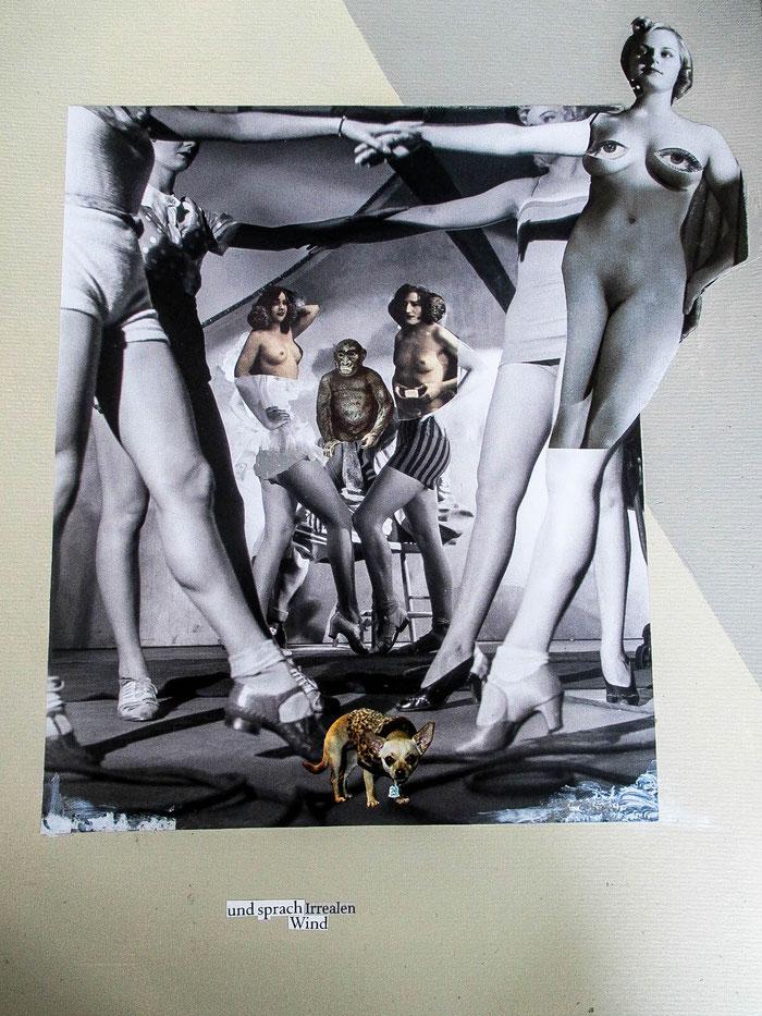 """""""und sprach irrealen Wind"""", 2018.  Acryl, Papier auf Mischtechnik-Papier."""