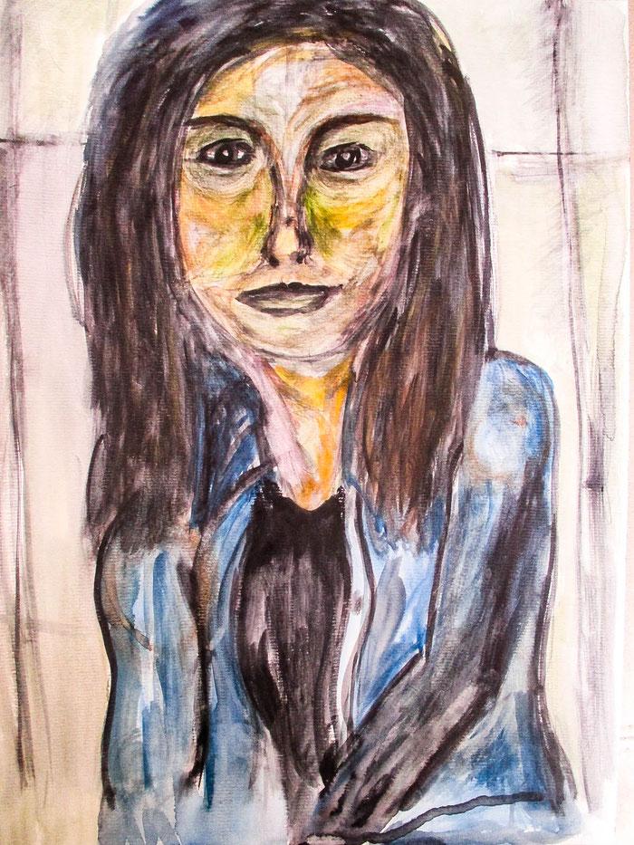 """""""Mina"""", 2018. Acryl auf Mischtechnik-Papier. 29,5x40,5 cm."""