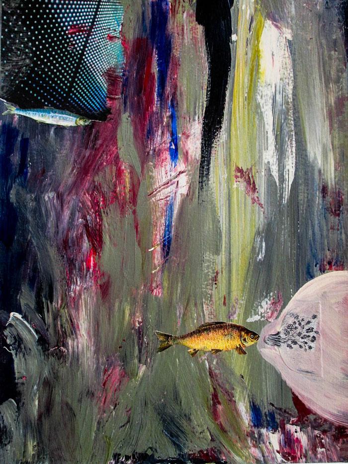 """""""FischMilch"""", 2011. Acryl, Papier auf Hahnemühle-Papier. 29,5x42 cm."""