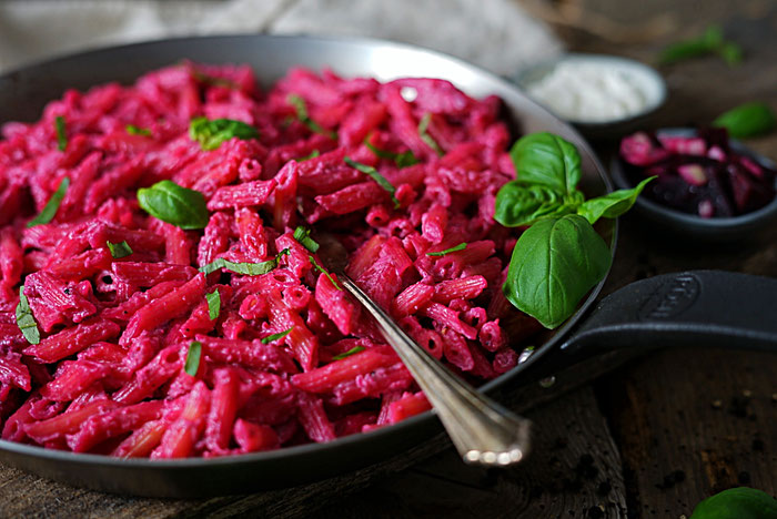 Pasta, Penne, dinner rote Beete Meerrettich