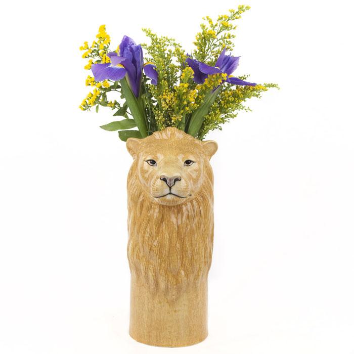große Löwenvase von Quail Ceramics