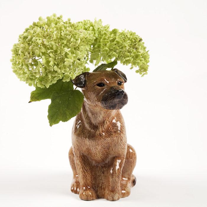 Blumenvase Border Terrier von Quail Ceramics