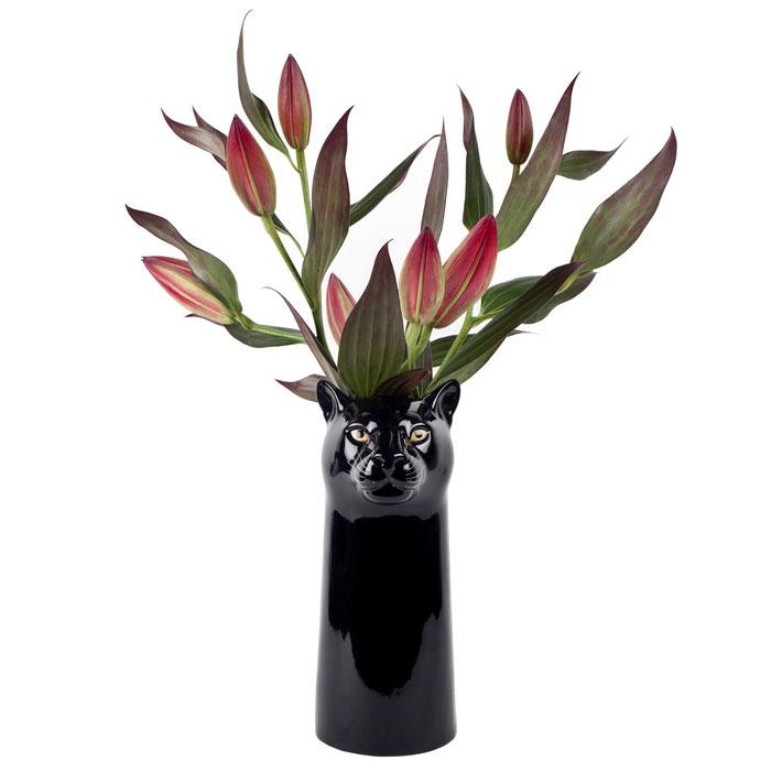 Blumenvase aus Keramik im Pantherdesign - von Quail Ceramics