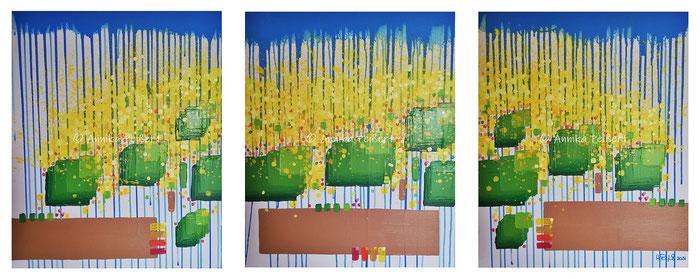 Acryl auf Leinwand (Keilrahmen), Triptychon/3 Stk. je 60 x 50 cm