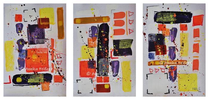 Acryl und Pastellkreide auf Papier, 3 x DIN A4