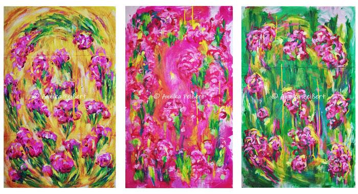 Acryl auf Pappkarton, v.l. 106 x 66 cm / 104 x 64 cm / 106 x 66 cm