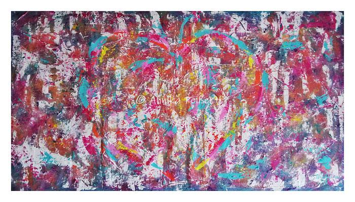 Acryl auf Gips-Kleber-Struktur auf Baumwoll-Maltuch, ca. 80 x 150 cm
