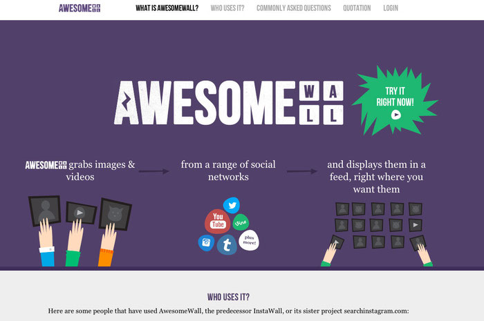 Ejemplo de página web con colores morados.