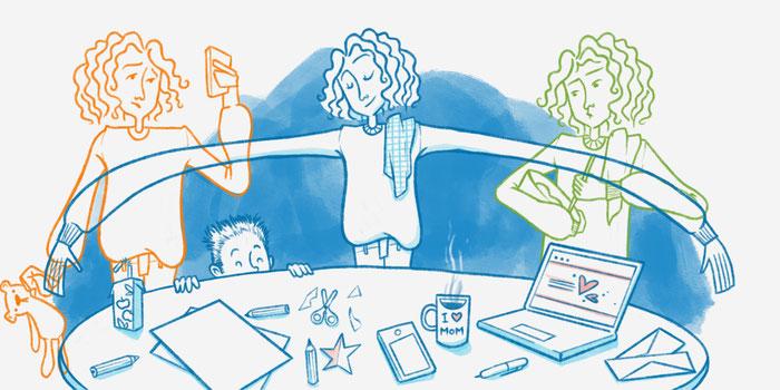 Ilustración de mujeres emprendedoras haciendo varias cosas a la vez