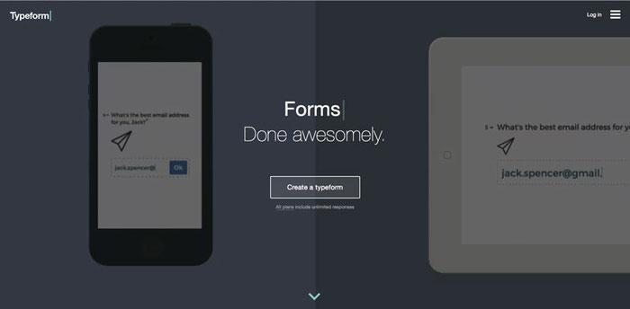 """Typeform, es una herramienta para crear formularios increíbles. """"Done awesomely"""" es su propuesta de valor única."""