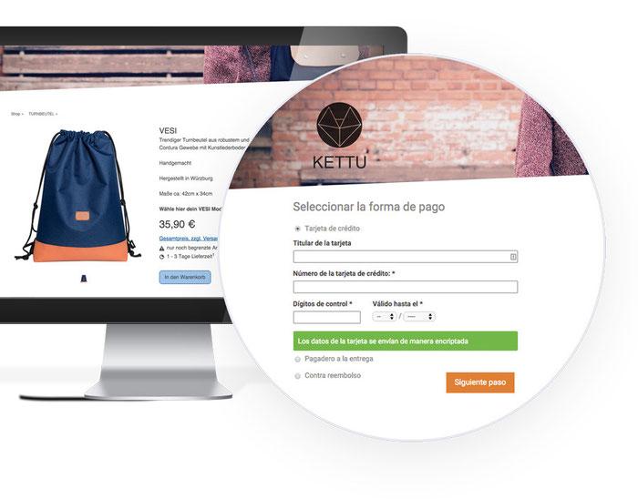 Pago mediante tarjeta de crédito en una tienda online realizada con Jimdo.