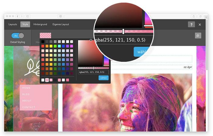 Opción para ajustar transparencias en el creador de páginas web Jimdo Creator.