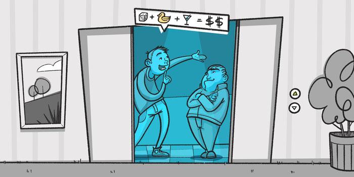 Persona dando un elevator pitch convincente a un cliente potencial