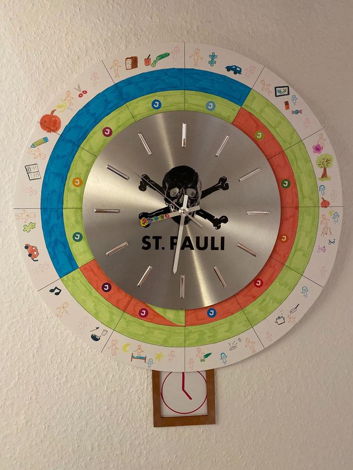 Reloj adaptado para repartir las horas de trabajo y de cuidado de los hijos en casa entre los padres