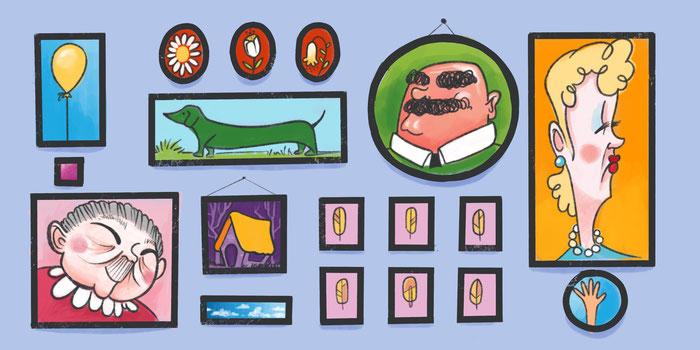 Ilustración de una galería de imágenes y fotografías