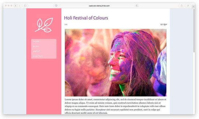 Combinación de colores en una página web realizada con Jimdo.