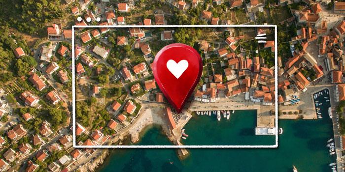 Imagen que señala la ubicación de un negocio para atraer a los clientes locales