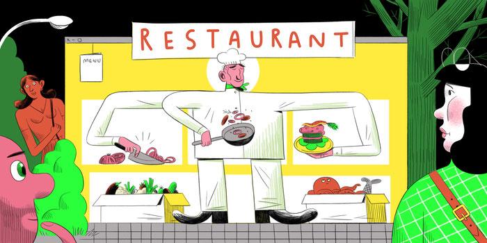 Ilustración de chef y clientes en un restaurante