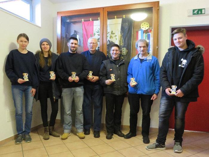 Die Gewinner der Kreispokale 2018: v.l.: Larissa Barnewitz, Melina Barnewitz,  Markus Wüpper, Günter Rickers, Martin Wüpper, Thomas Buske, Marc Erik Wichmann