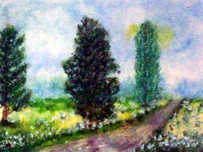 Bäume am Weg, Pastellgemälde, Bäume, Wiese, Feld, Blumen, Weg, Natur, Büsche, Impressionismus, Landschaftsbild, Pastellmalerei, Pastellbild