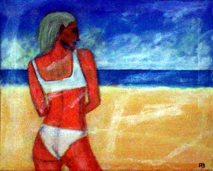 Young Girl on Beach, Acrylmalerei, Strandszene, Frau, Meer, Strand, Sommer, Meerlandschaft, Acrylgemälde, Landschaftsbild
