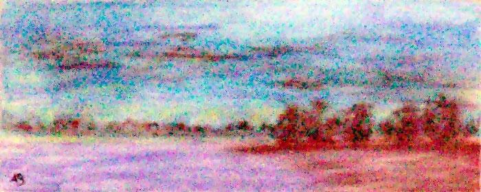 Seelandschaft, Passtellgemälde, Pastellbild, See, Landschaftsbild, Bäume, Wald, Himmel, Wolken, Pastellmalerei, Landschaftsmalerei