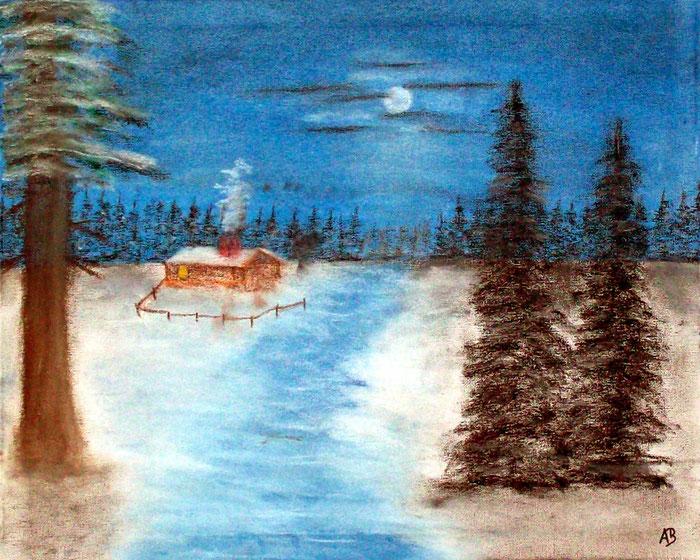 Winternacht am Wald, Original Pastellgemälde, Winter, Hütte, Wald, Bäume, Schnee, Eis, NachtWinterlandschaft, Pastellmalerei, Landschaftsbild, Pastellkreide, Keilrahmen, Leinwand
