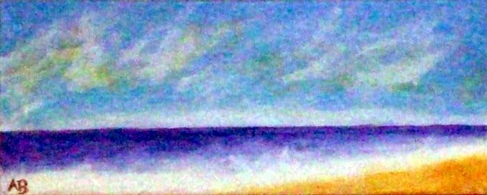 Meer und Strand, Pastellbild, Landschaftsbild, Meerlandschaft, Wellen, HimmelPastellmalerei, Pastellgemälde, Landschaft